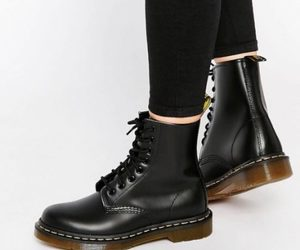 ankle boots, black, and combat booties image