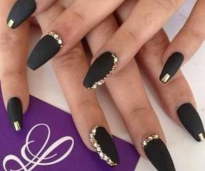 nails, black, and gold image
