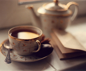 tea, book, and vintage image