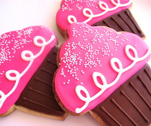 cupcake, pink, and cookie image