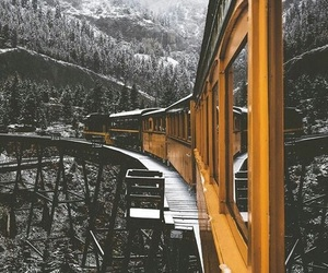 train, winter, and travel image
