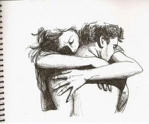 hug, art, and couple image
