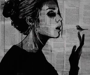 art, girl, and bird image