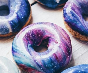 food, donuts, and galaxy image