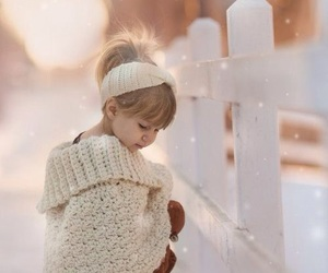 child, snow, and pink image