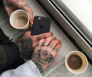 coffee, couple, and tattoo image