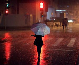 rain, street, and umbrella image
