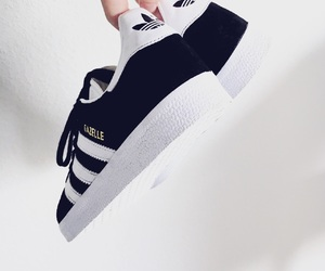adidas, black and white, and sneakers image