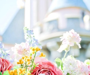 flowers, castle, and disney image