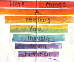 quote, text, and rainbow image