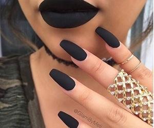 nails, black, and lips image