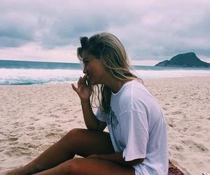 girl, beach, and brunette image