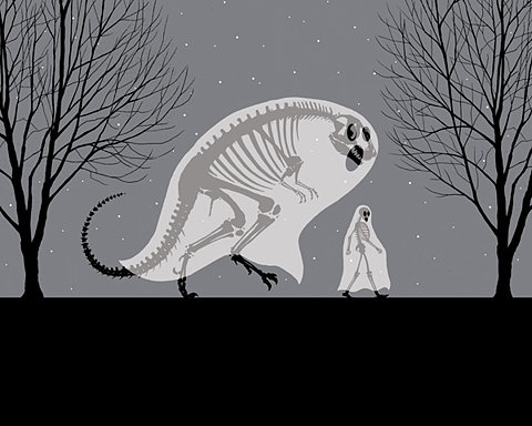 ghost, skeleton, and dinosaur image