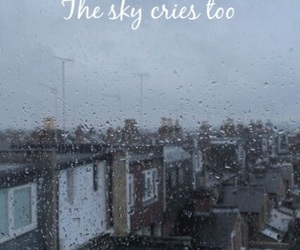 crying, quote, and rain image