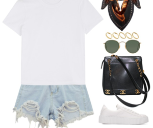 backpack, jeans, and Polyvore image