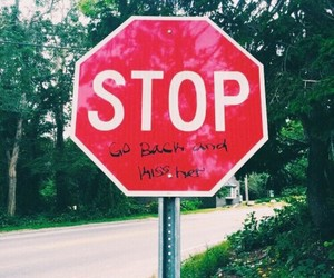 sign, stop, and words image