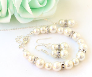 etsy, pearl brACELET, and wedding jewelry image