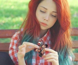 awesome hair, colored hair, and green image