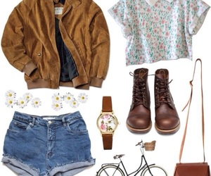 outfit, boots, and daisy image