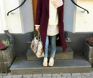 boots, hijab, and ootd image