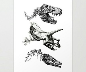 art, black and white, and dinosaurs image