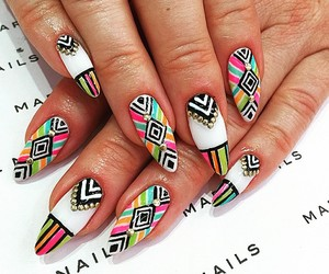 nails, fashion, and print image