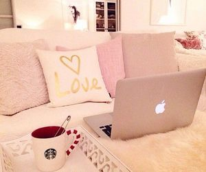 pink, room, and starbucks image