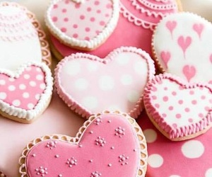 pink, Cookies, and heart image