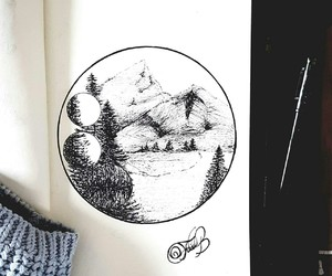 art, drawing, and mountain image
