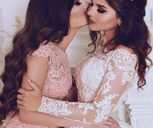 dress, wedding, and sisters image