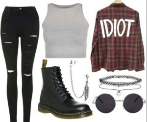 outfit, grunge, and boots image