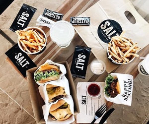 burger, food, and salt image