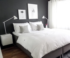 bedroom, black and white, and inspiration image