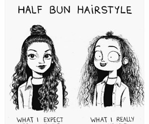 funny, hair, and half bun image