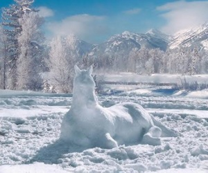 horse, sculpture, and snow image
