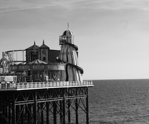 black and white, photography, and pier image