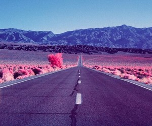 pink, road, and mountains image