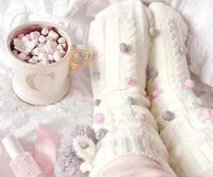 pink, socks, and cozy image
