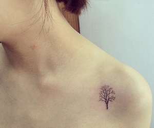 little, tattoo, and tree image