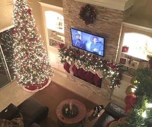 christmas, christmas tree, and house image