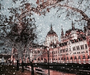 city, snow, and budapest image