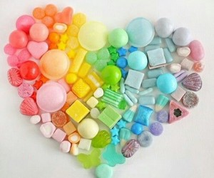 heart, candy, and rainbow image
