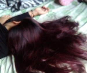 dark, hair, and red image