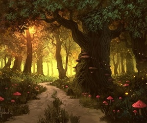 forest, mushroom, and art image