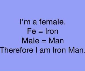 female, iron man, and girl power image