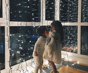 kids, light, and christmas image