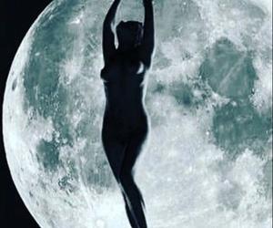 beauty, moon, and woman image