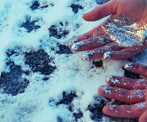 glitter, snow, and hands image