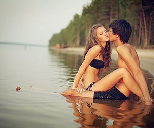 boy, couple, and river image