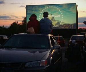 couple, movie, and night image